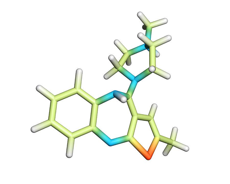 Zyprexa Zydis Photograph - Olanzapine Antipsychotic Drug Molecule by Dr Tim Evans
