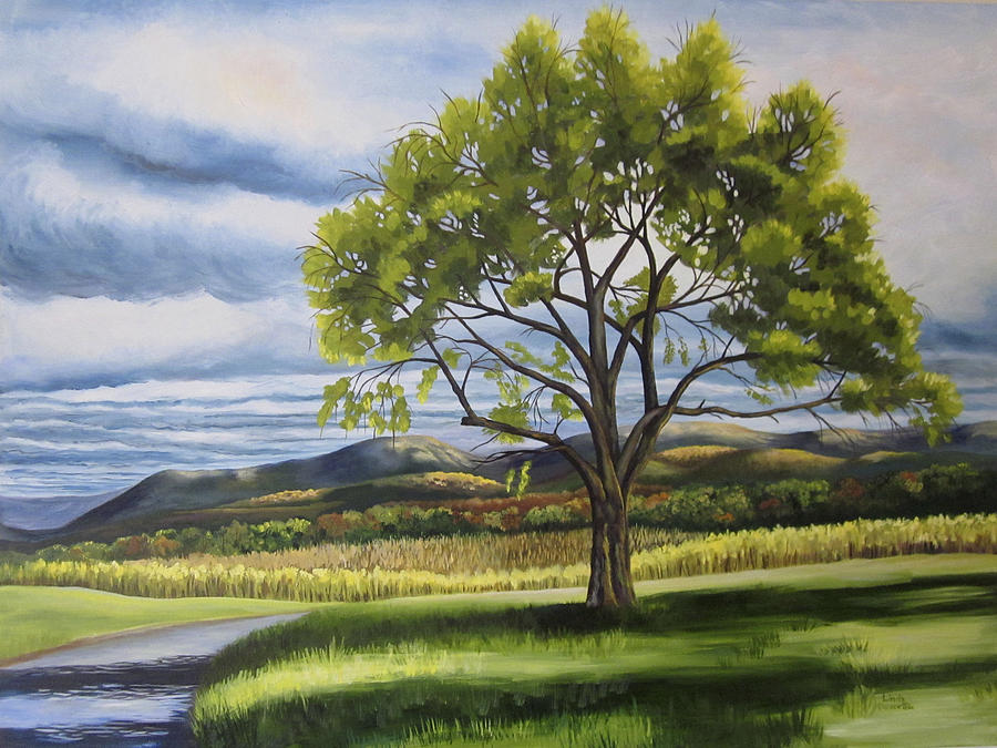 Landscape Painting - Old Apple Tree by Linda L Doucette