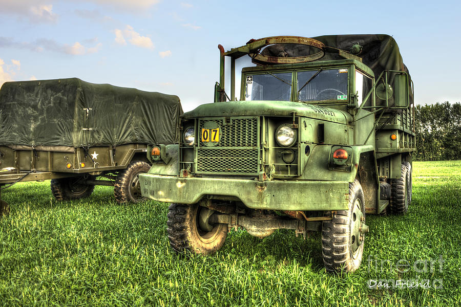 Old Army Truck Photograph - Old Army Truck In Field by Dan Friend