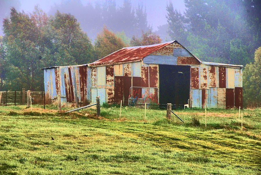 Corrugated Digital Art - Old Barn In The Mist by Fran Woods