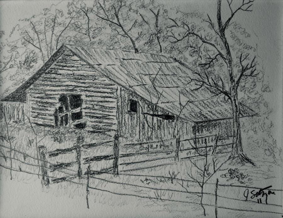 Old Barn Drawing By Jason Sotzen