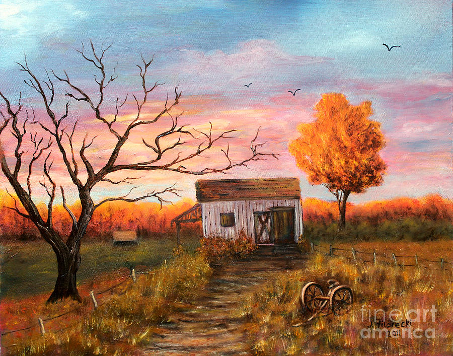 Old barn painting at sunset painting by judy filarecki for Watercolor barn paintings
