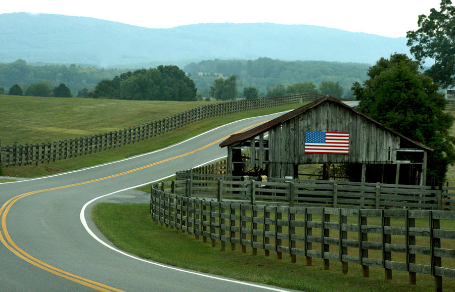 Old Barn With American Flag Photograph By Emanuel Tanjala