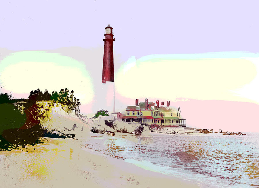 Barnegat Mixed Media - Old Barney Lighthouse by Charles Shoup