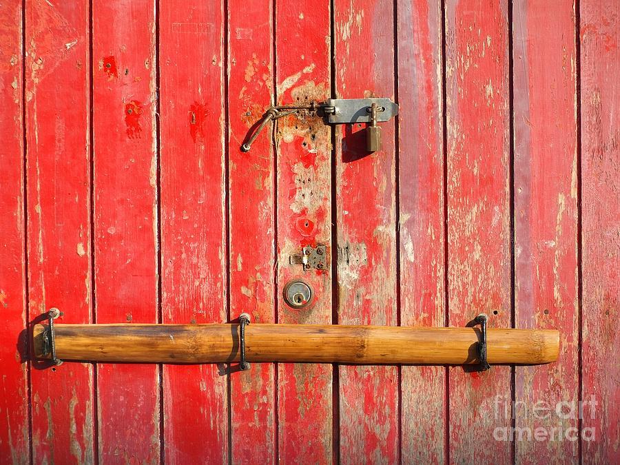 Door Photograph - Old Barred Red Door by Yali Shi & Old Barred Red Door Photograph by Yali Shi