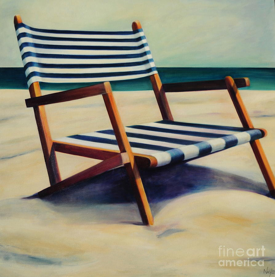 Beach chairs on the beach painting - Old Beach Chair Painting By Mary Naylor