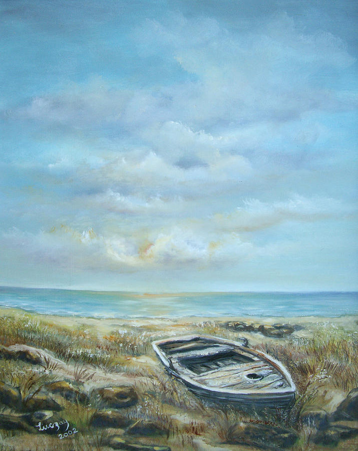 Ocean Painting - Old Boat Beached by Luczay