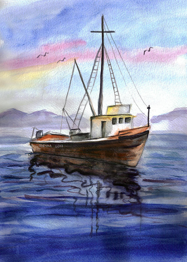 Old Boat Painting by Clara Sue Beym