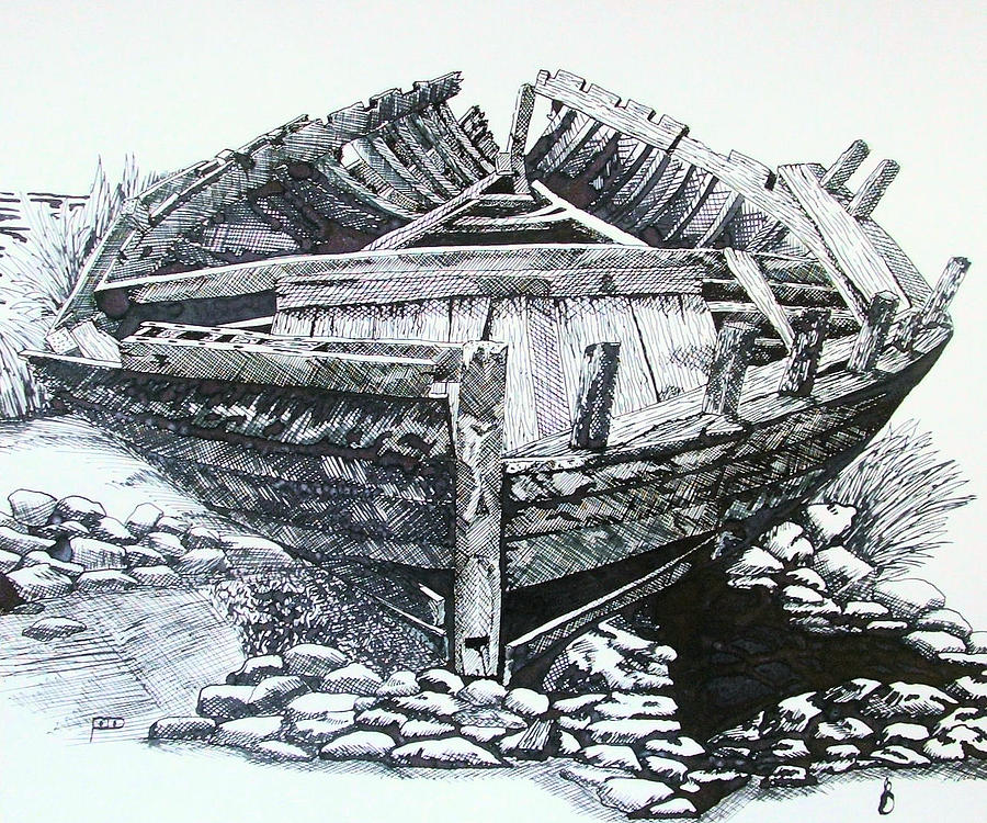 Old Boat Drawing by Davo