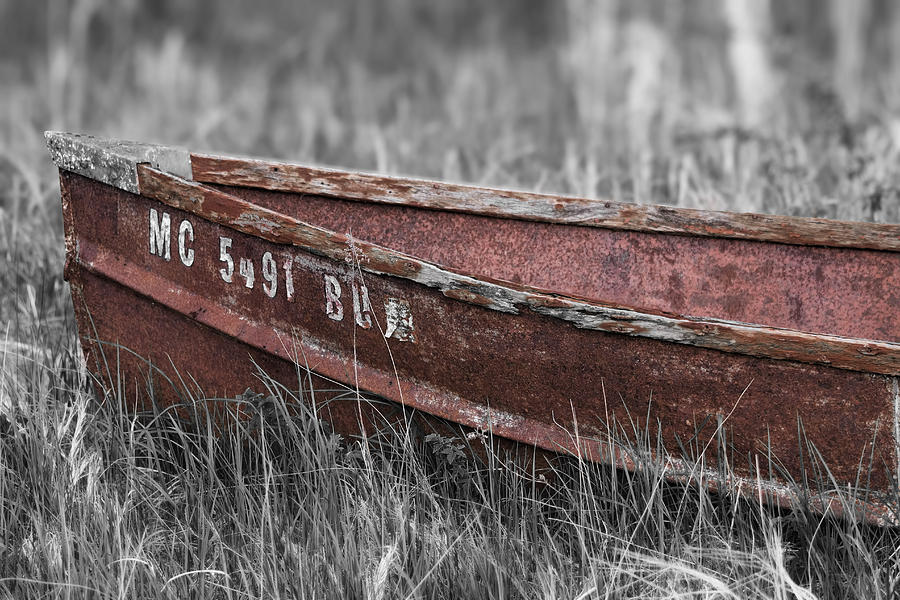 Antique Boat Photograph - Old Boat Washed Ashore  by Joe Gee