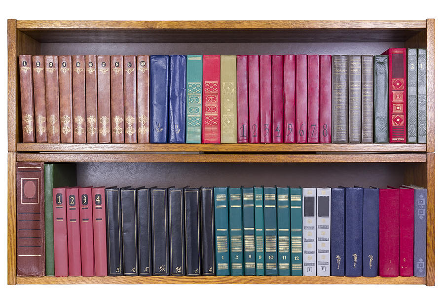 Books Photograph - Old Books With Color Covers  On A Shelf  by Aleksandr Volkov