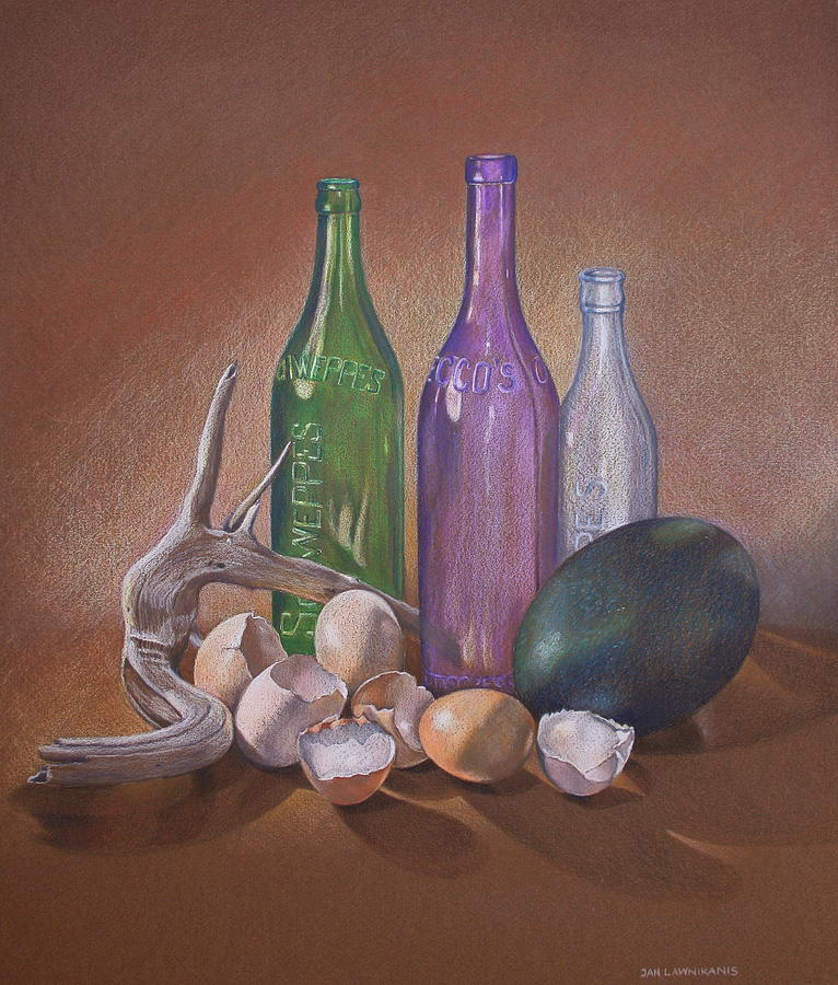 Colour Pencil Drawing - Old Bottles Egg Shells And Driftwood  by Jan Lawnikanis