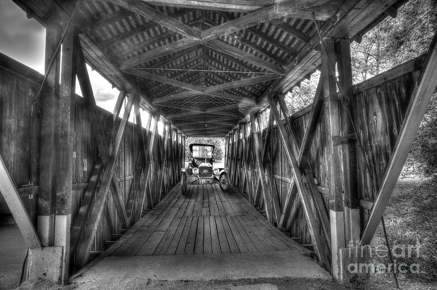 Old Car Photograph - Old Car On Covered Bridge by Dan Friend