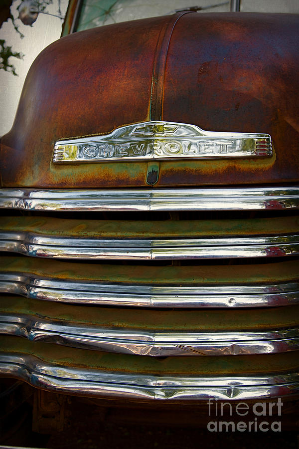 Car Photograph - Old Chevrolet Front Grille by ELITE IMAGE photography By Chad McDermott
