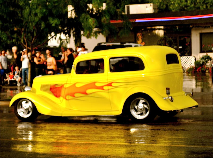 Classic Yellow Car With Flames Photograph By Brigette Hollenbeck