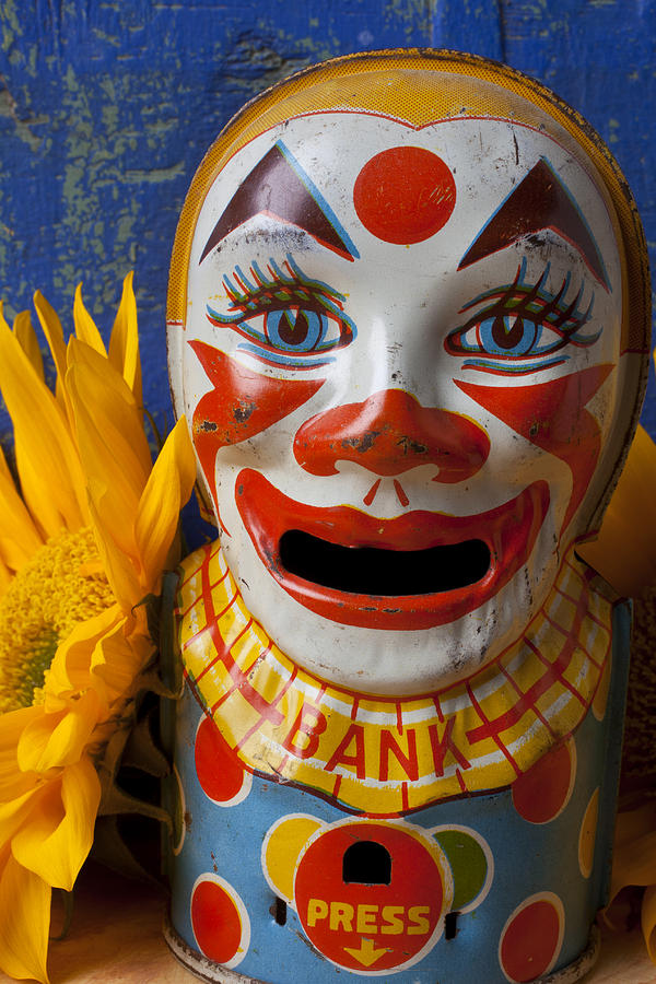 Old Photograph - Old Clown Bank by Garry Gay