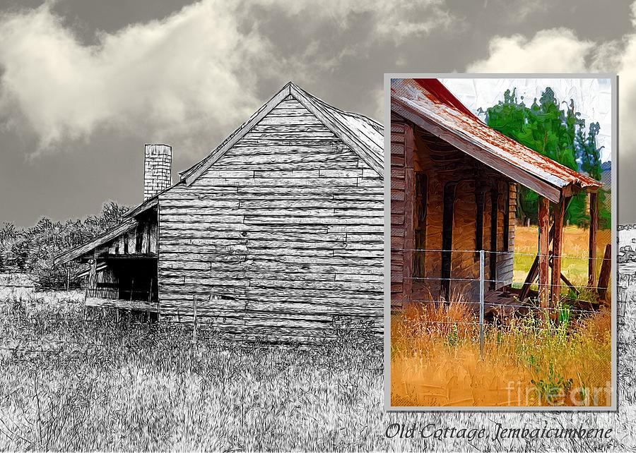 Diptych Digital Art - Old Cottage Diptych 2 by Fran Woods