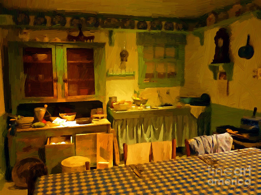 Beautiful Old Mixed Media   Old Country Kitchen By Jerry L Barrett