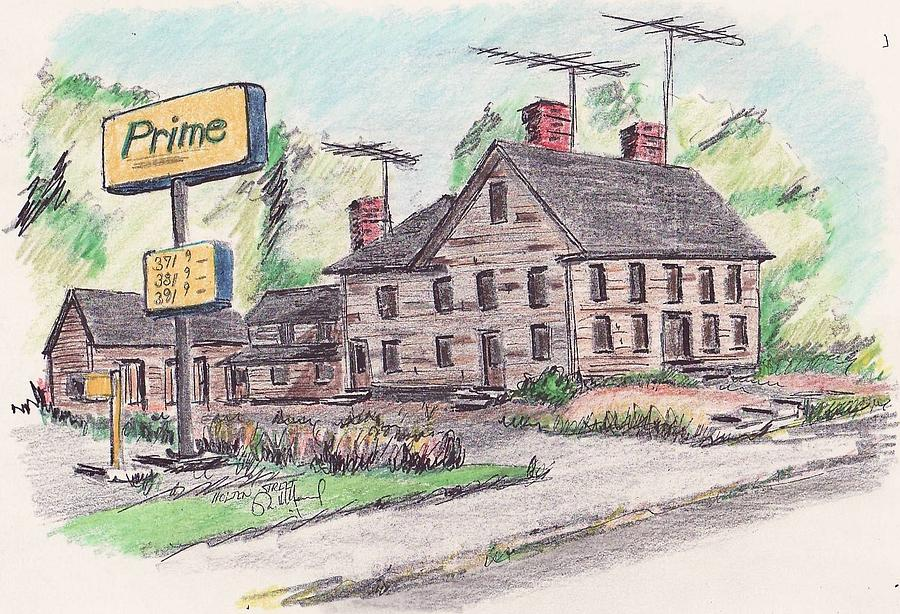 Old Home Drawing - Old Danvers House by Paul Meinerth