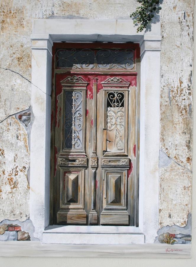 Old Door Painting By Costis Hatzioannou