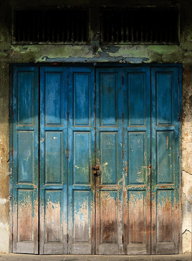 Contrasts Photograph - old door in China town by Setsiri Silapasuwanchai