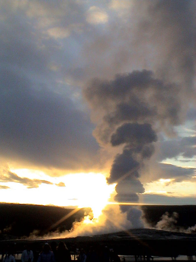 Old Faithful Geyser at Sunset Yellow Stone National Park by John Shiron