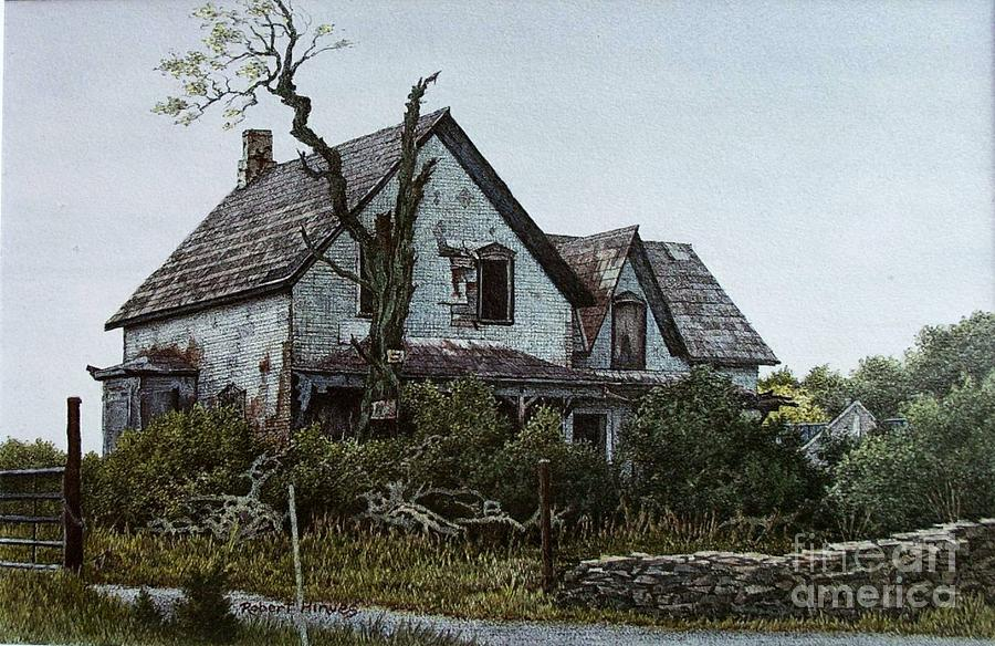 Abandoned Farmhouse Painting - Old Farmhouse Picton by Robert Hinves
