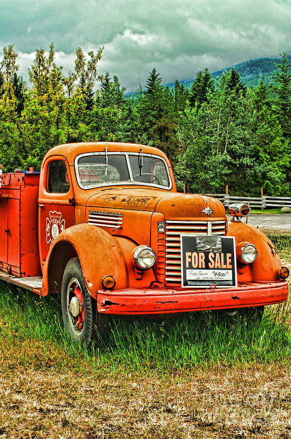 Old Fire Truck For Sale-hdr Photograph by Randy Harris