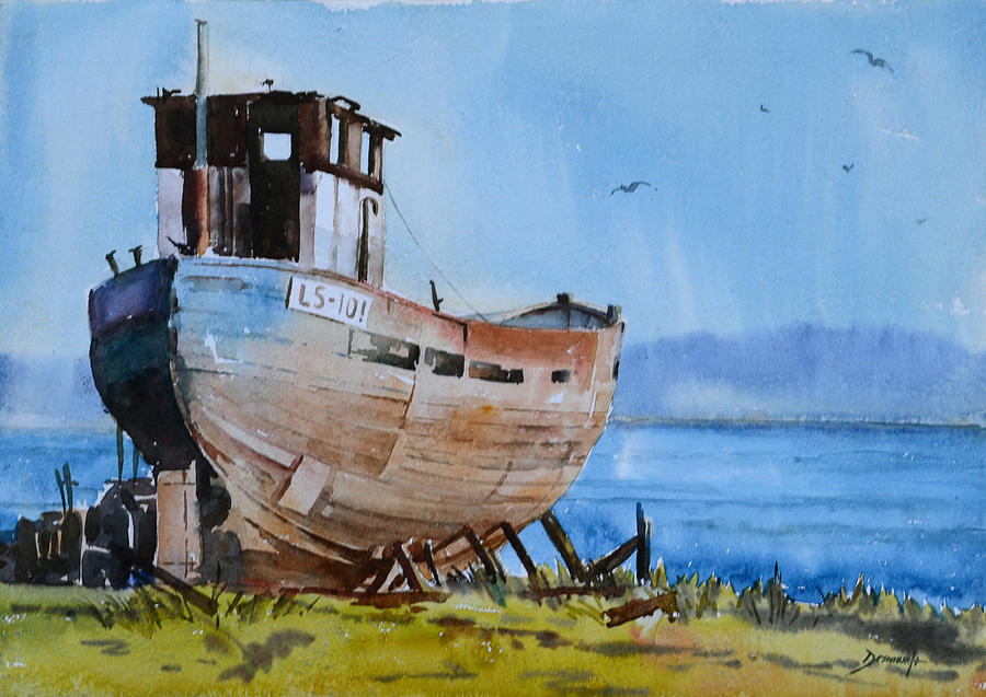 Old Fishing Boat Painting by Vinayak Deshmukh
