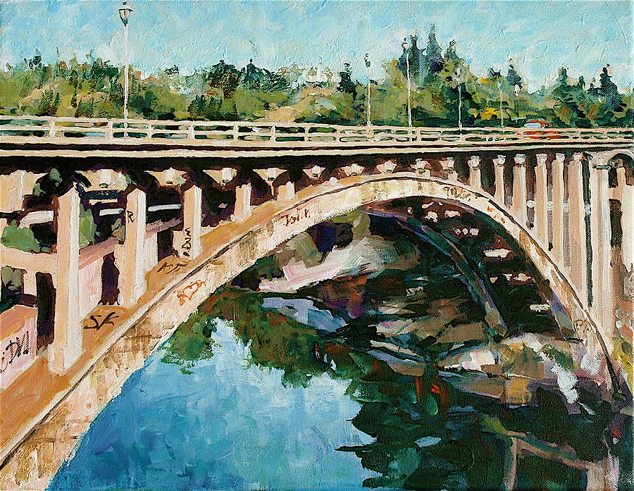 Landscape Painting - Old Folsom Bridge by David Lobenberg