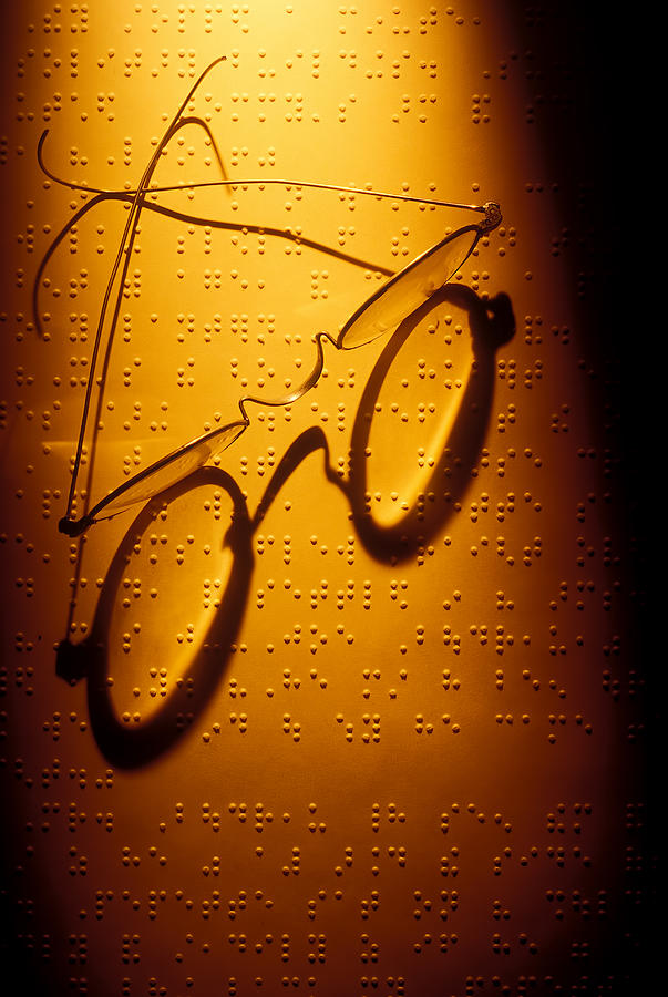 Braille Photograph - Old Glasses On Braille  by Garry Gay
