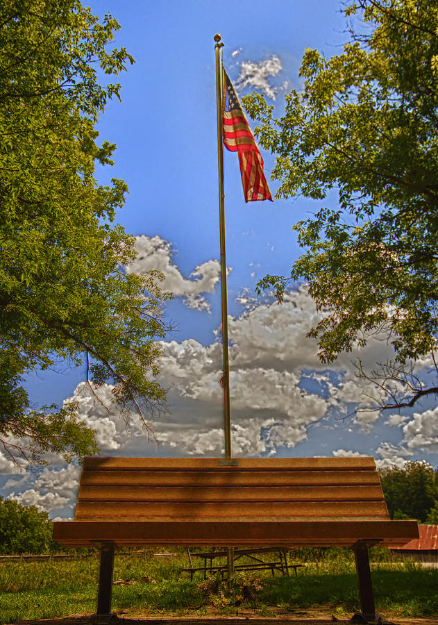 Flag Photograph - Old Glory Bench by Bill Tiepelman