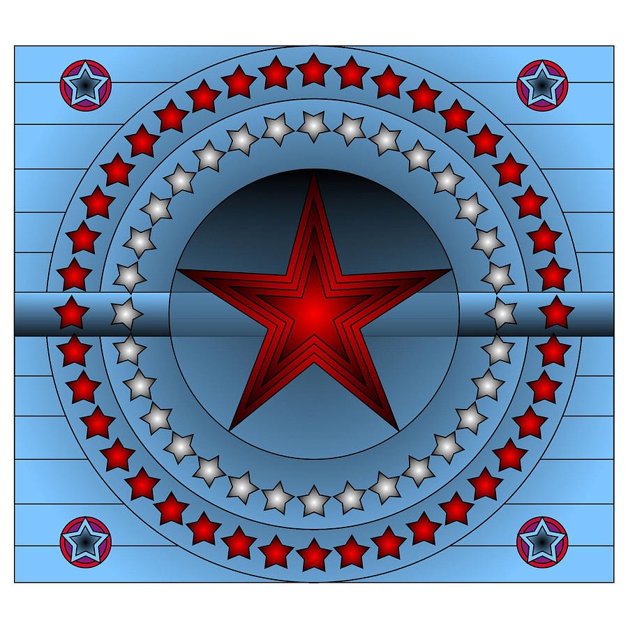 Star Digital Art - Old Glory Star by Mario Carini