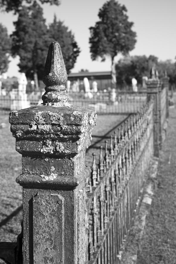Graveyard Photograph - Old Graveyard Fence In Black And White by Kathy Clark