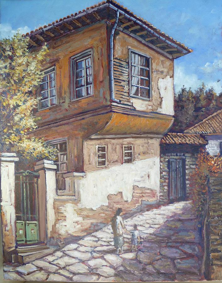 Old greek house painting by charalampos laskaris for Classic house painting