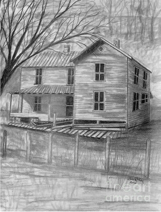 Old House Drawing - Old Homeplace by Julie Brugh Riffey