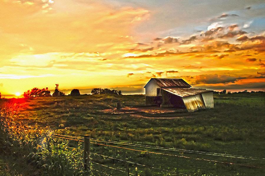 Sundown Photograph - Old Horse Shed At Sundown by Randall Branham