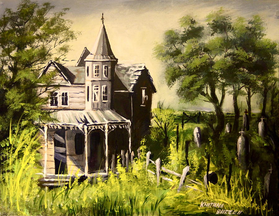 Old house with cemetery painting by khatuna buzzell for Classic house painting