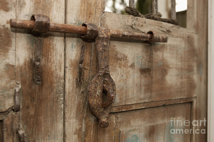 Antique Gate Latch : Old iron door latch on wooden photograph by will