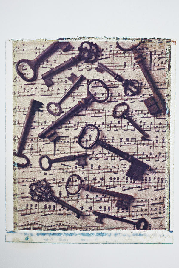 Key Photograph - Old Keys On Sheet Music by Garry Gay