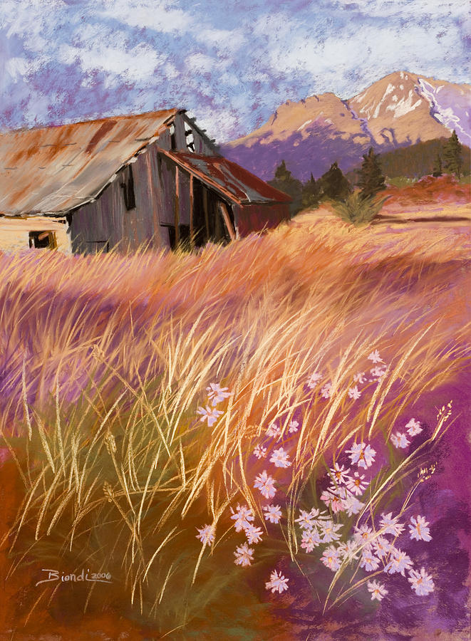 Barn Pastel - Old Land Trust Barn Mount Shasta by Janet Biondi