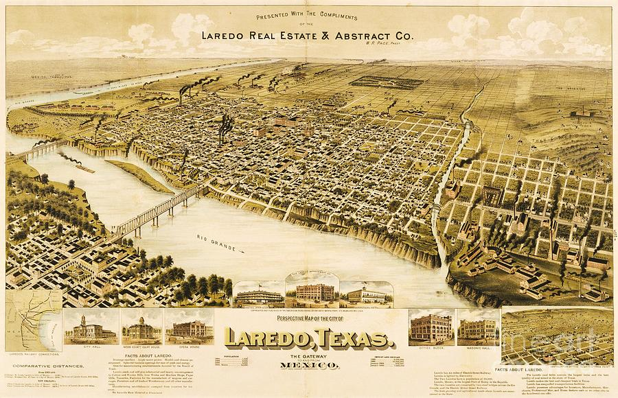 Reproduction Drawing - Old Map Laredo Texas by Pg Reproductions