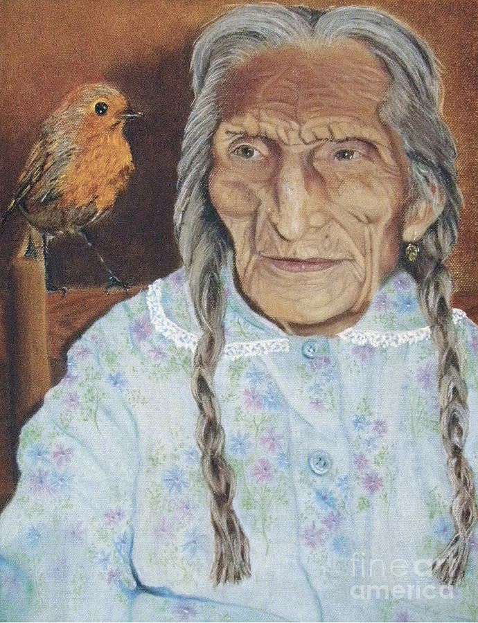 Bird Painting - Old Mary Mariquita by Jim Barber Hove