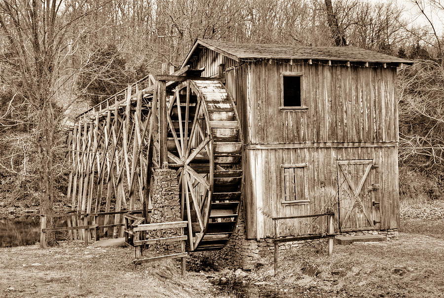 Old Photograph - Old Mill In Sepia by Douglas Barnett