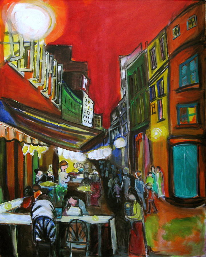Café Painting - Old Montreal by Nathalie Fabri