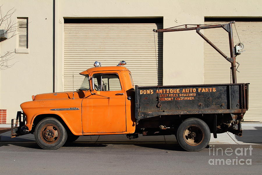 Chevy Truck Photograph - Old Orange American Chevy Chevrolet 3600 Truck . 7d12735 by Wingsdomain Art and Photography