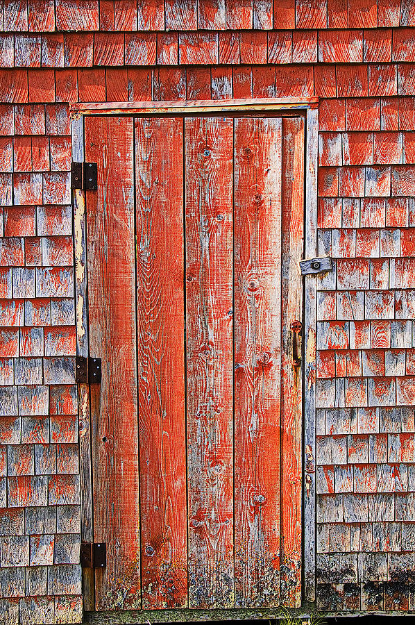 Peggy's Cove Photograph - Old Orange Door  by Garry Gay