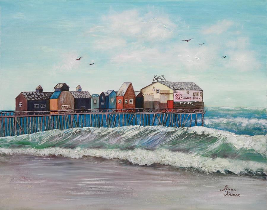 Ocean Scene Painting - Old Orchard Beach by Linda Krider Aliotti