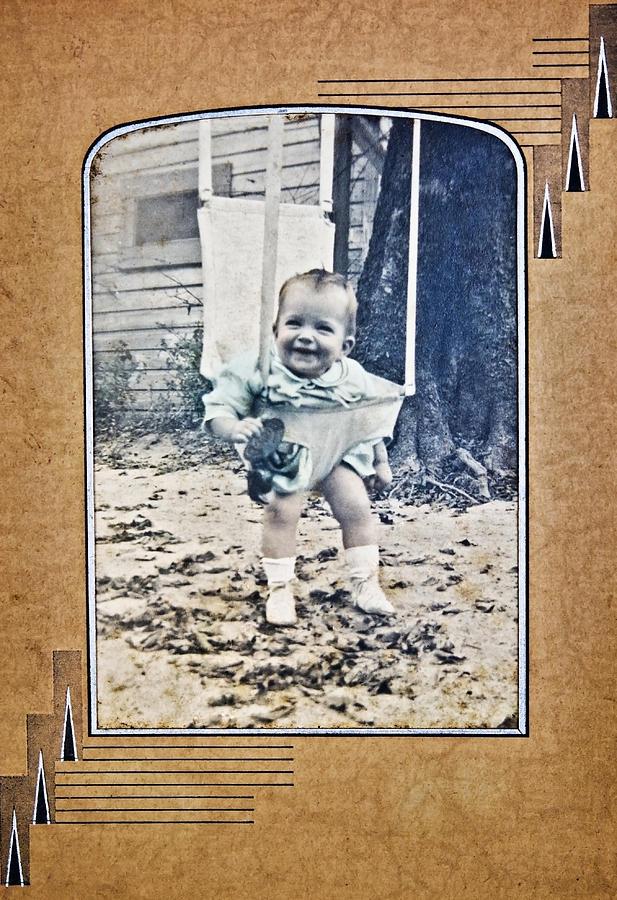 Album Photograph - Old Photo Of A Baby Outside by Susan Leggett