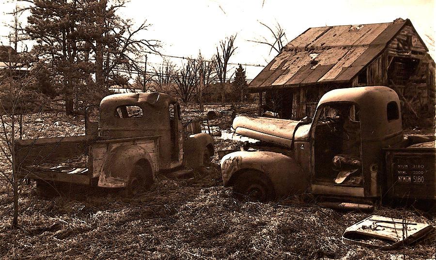 Sepia Photograph - old Pickup Trucks by Michael Lang